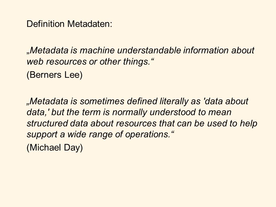 Definition Metadaten: