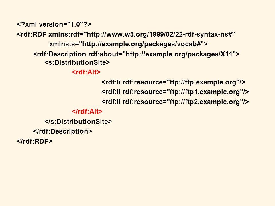 < xml version= 1.0 > <rdf:RDF xmlns:rdf= http://www.w3.org/1999/02/22-rdf-syntax-ns# xmlns:s= http://example.org/packages/vocab# >