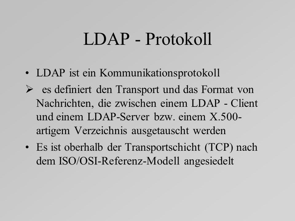 LDAP - Protokoll LDAP ist ein Kommunikationsprotokoll
