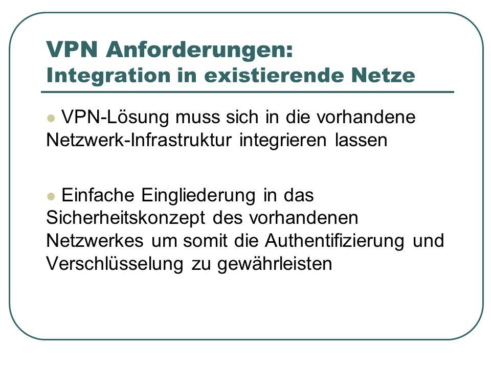 VPN Anforderungen: Integration in existierende Netze
