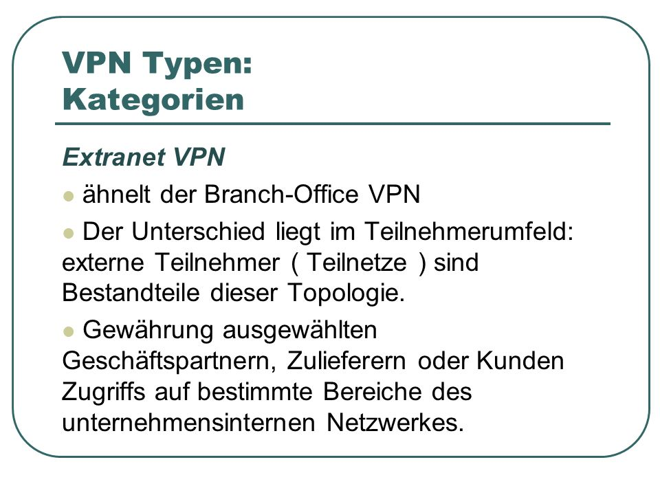 VPN Typen: Kategorien Extranet VPN ähnelt der Branch-Office VPN