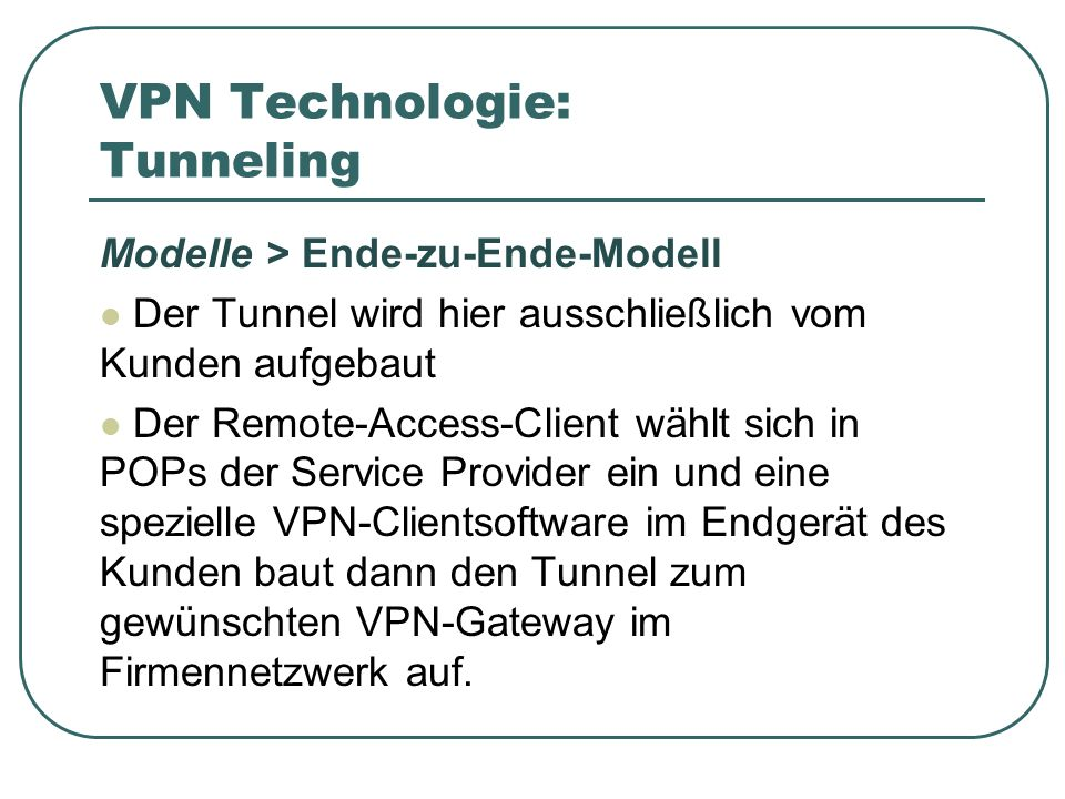 VPN Technologie: Tunneling