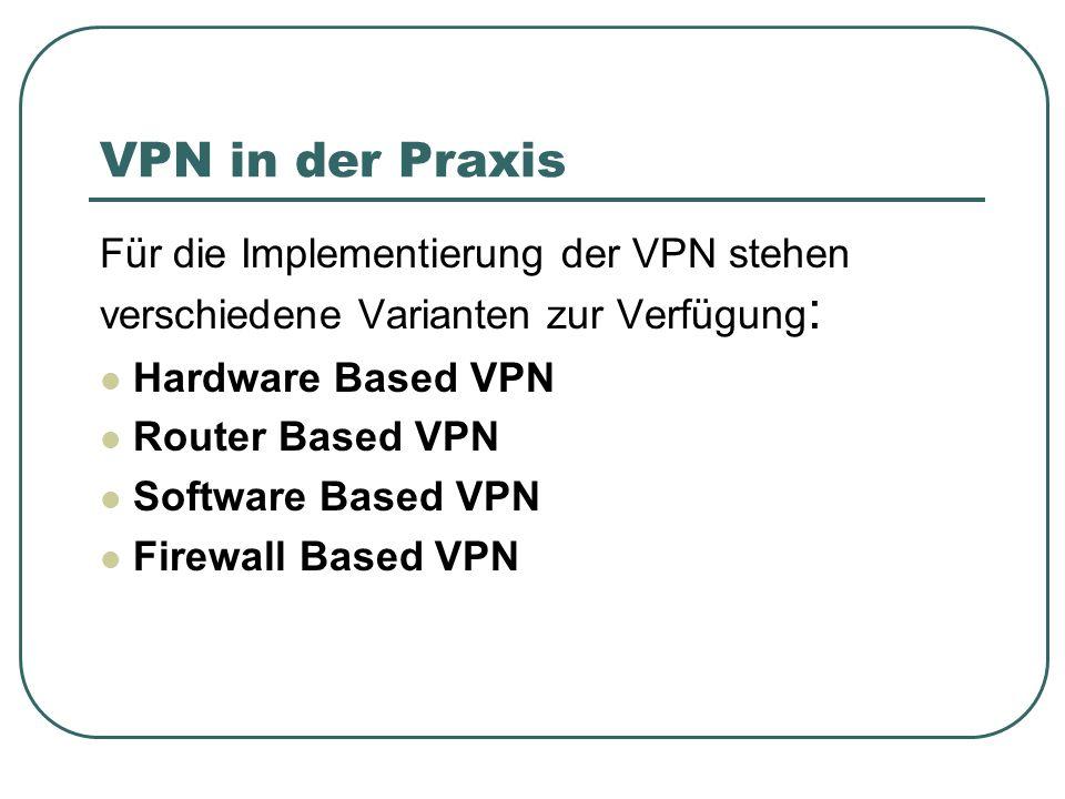 VPN in der Praxis Für die Implementierung der VPN stehen verschiedene Varianten zur Verfügung: Hardware Based VPN.