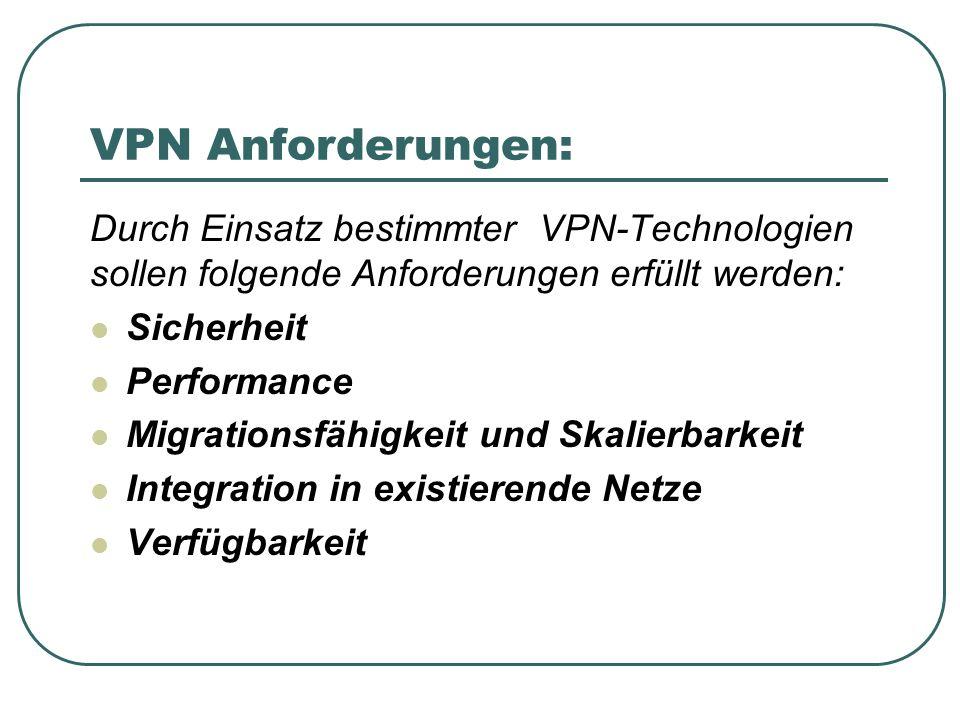 VPN Anforderungen: Durch Einsatz bestimmter VPN-Technologien sollen folgende Anforderungen erfüllt werden: