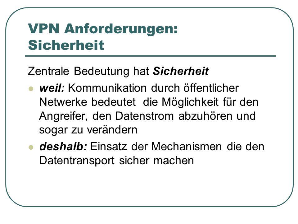 VPN Anforderungen: Sicherheit