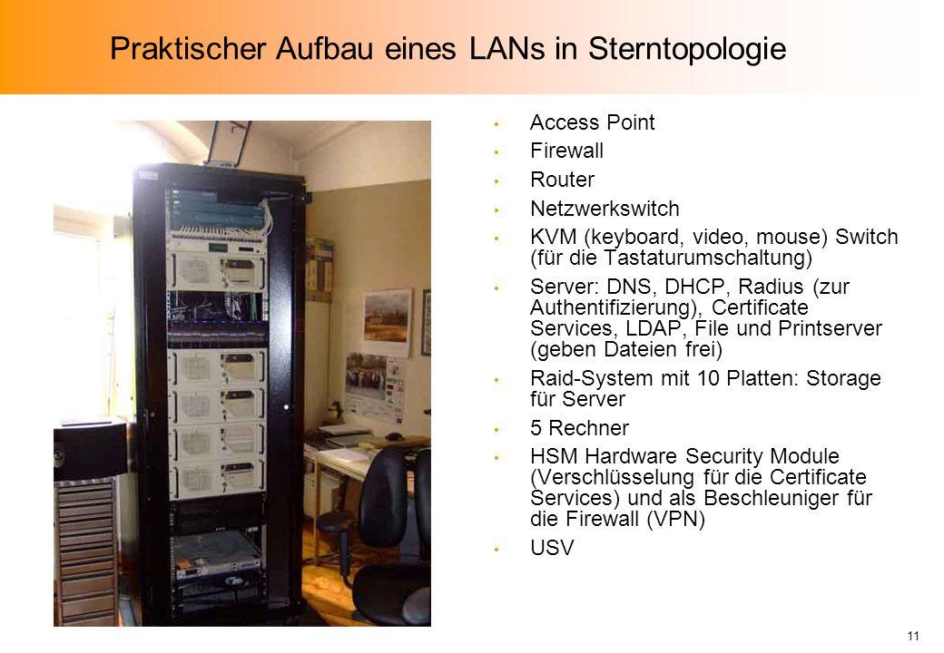 Praktischer Aufbau eines LANs in Sterntopologie
