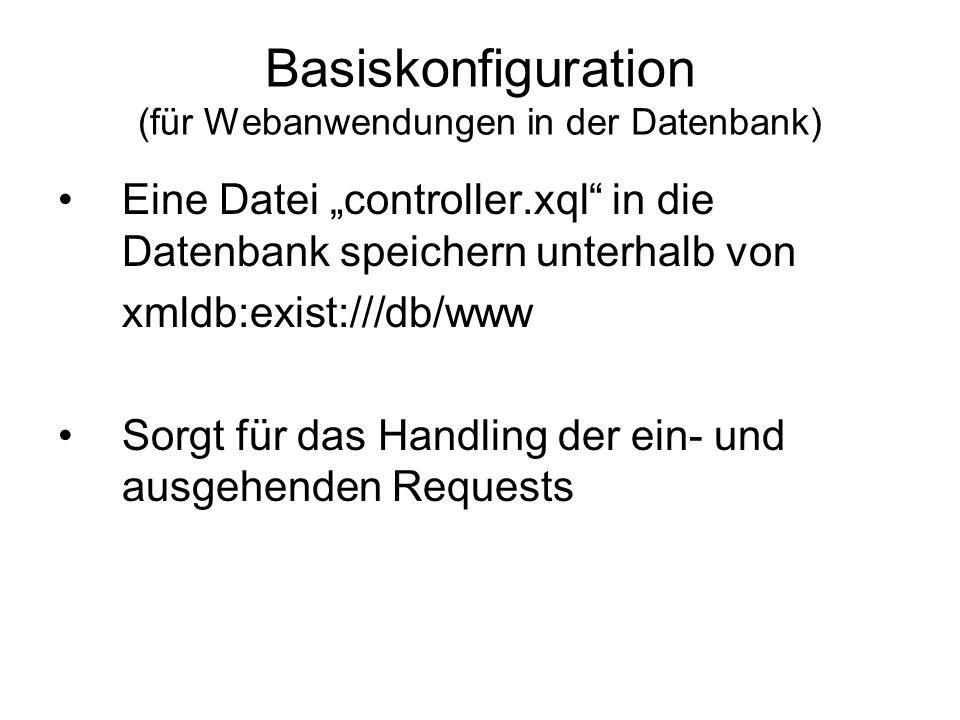 Basiskonfiguration (für Webanwendungen in der Datenbank)