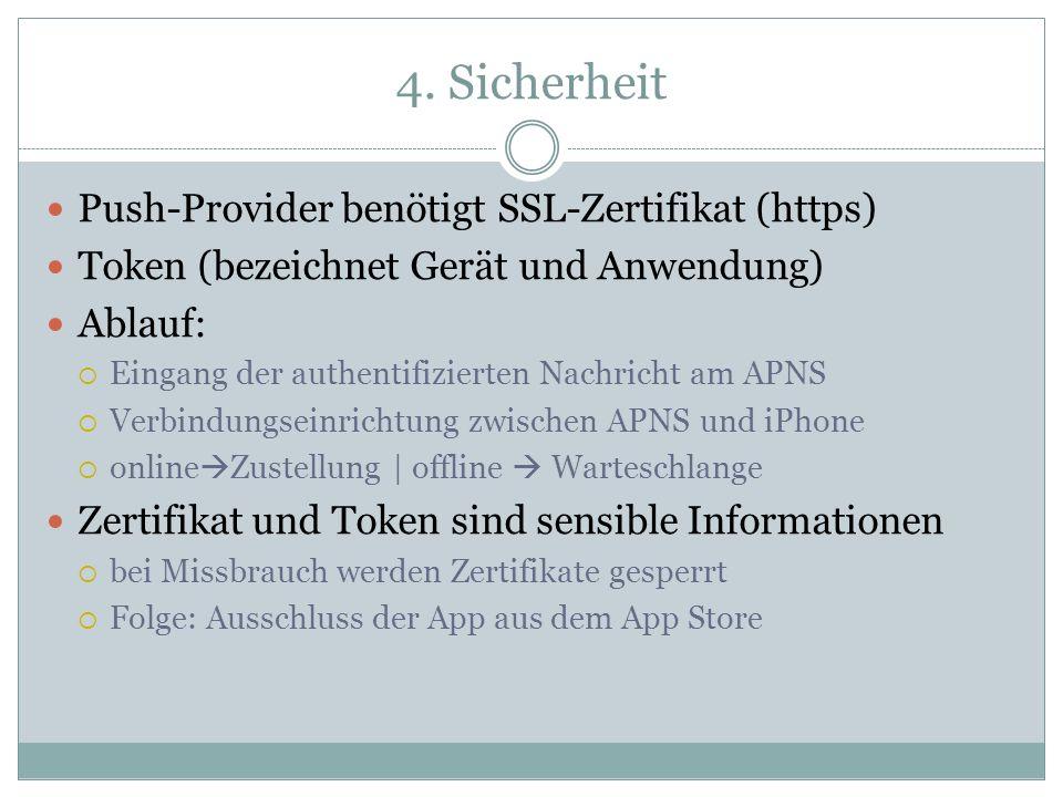4. Sicherheit Push-Provider benötigt SSL-Zertifikat (https)