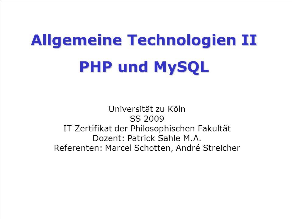 Allgemeine Technologien II