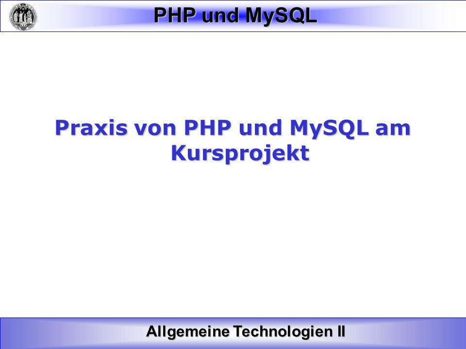 Praxis von PHP und MySQL am
