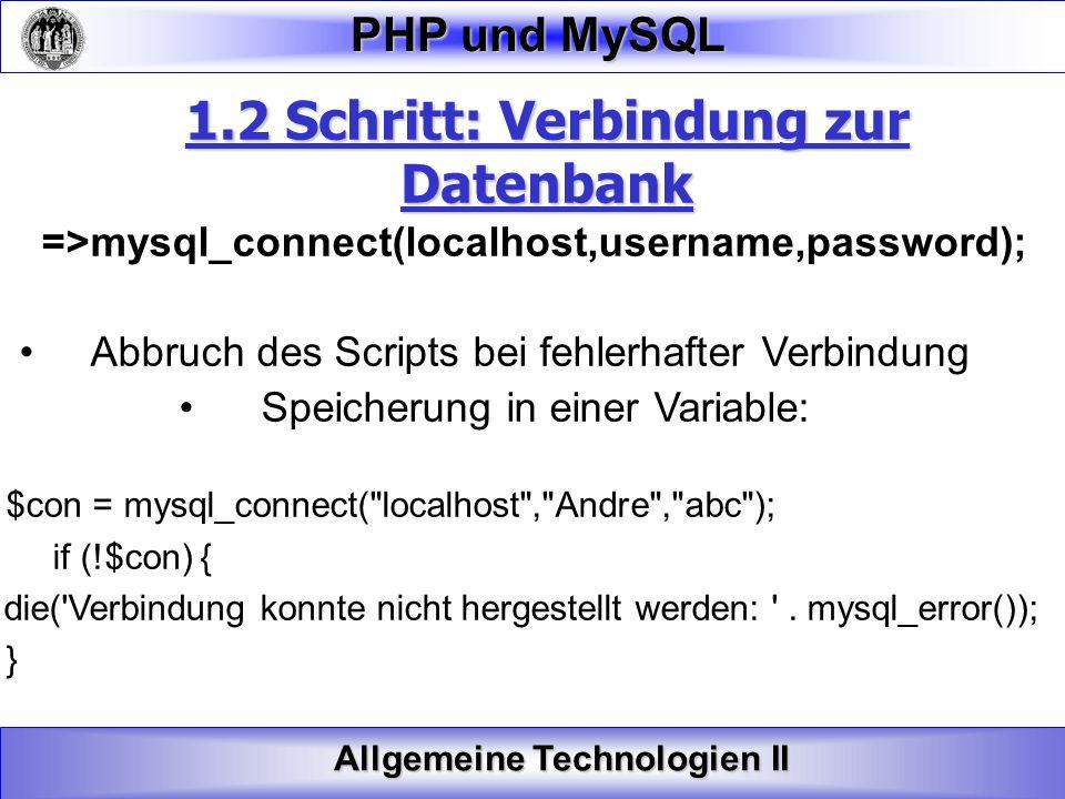 1.2 Schritt: Verbindung zur Datenbank