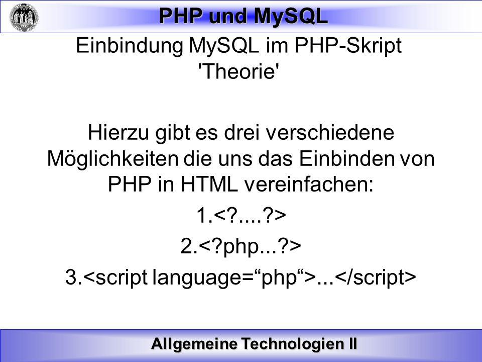 Einbindung MySQL im PHP-Skript Theorie