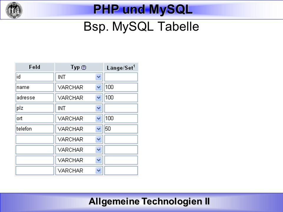 Bsp. MySQL Tabelle
