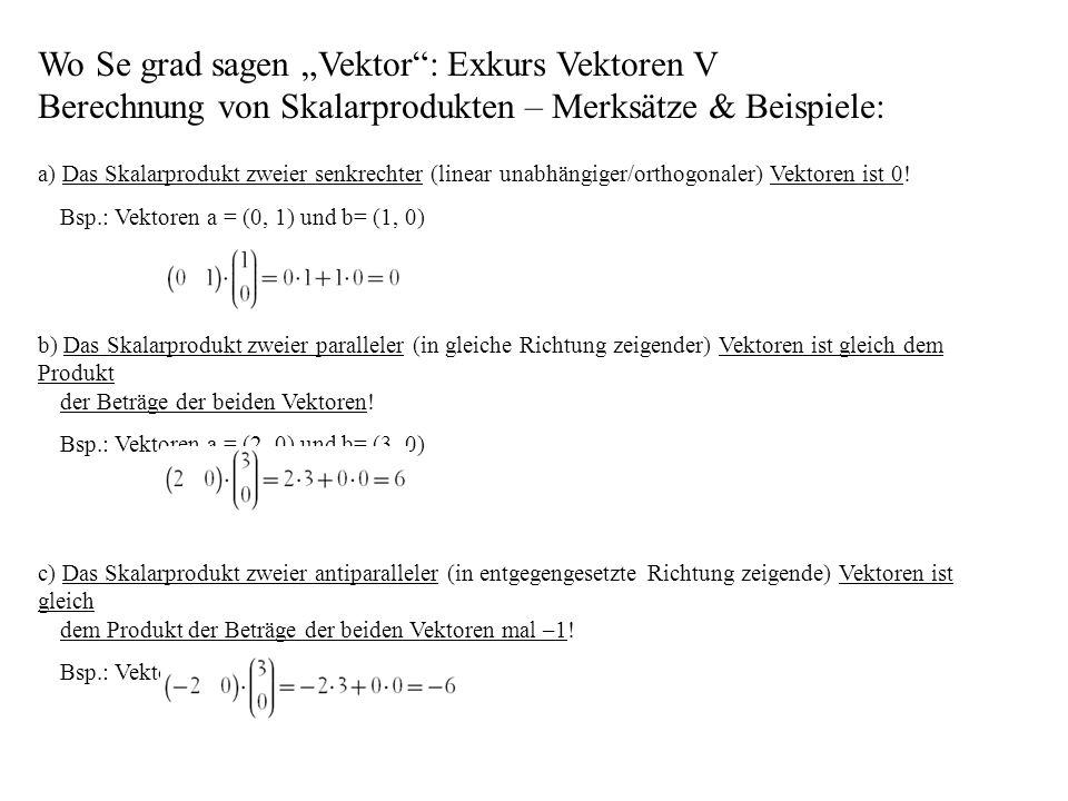 """Wo Se grad sagen """"Vektor : Exkurs Vektoren V Berechnung von Skalarprodukten – Merksätze & Beispiele:"""
