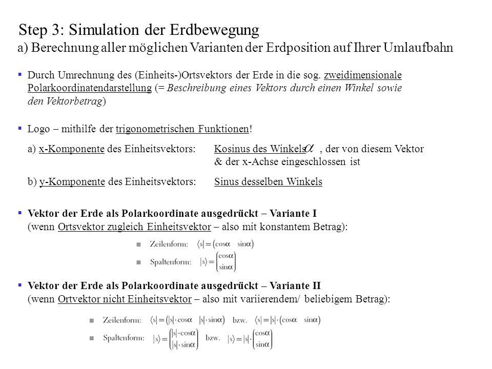 Step 3: Simulation der Erdbewegung a) Berechnung aller möglichen Varianten der Erdposition auf Ihrer Umlaufbahn