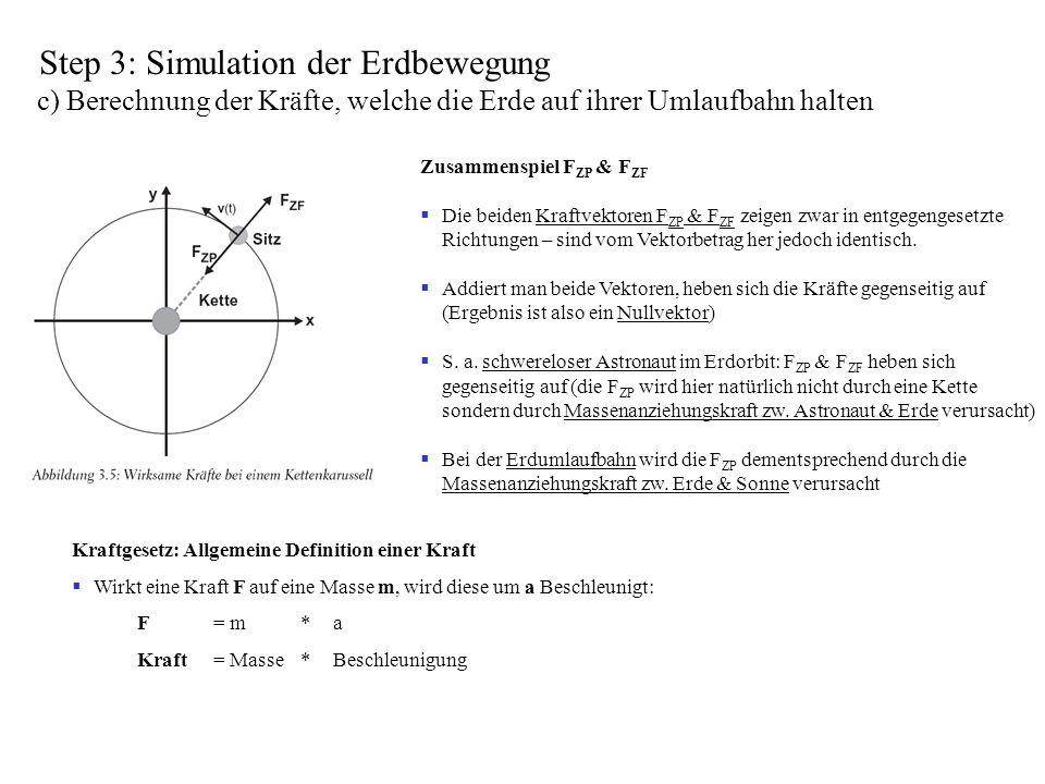 Step 3: Simulation der Erdbewegung c) Berechnung der Kräfte, welche die Erde auf ihrer Umlaufbahn halten