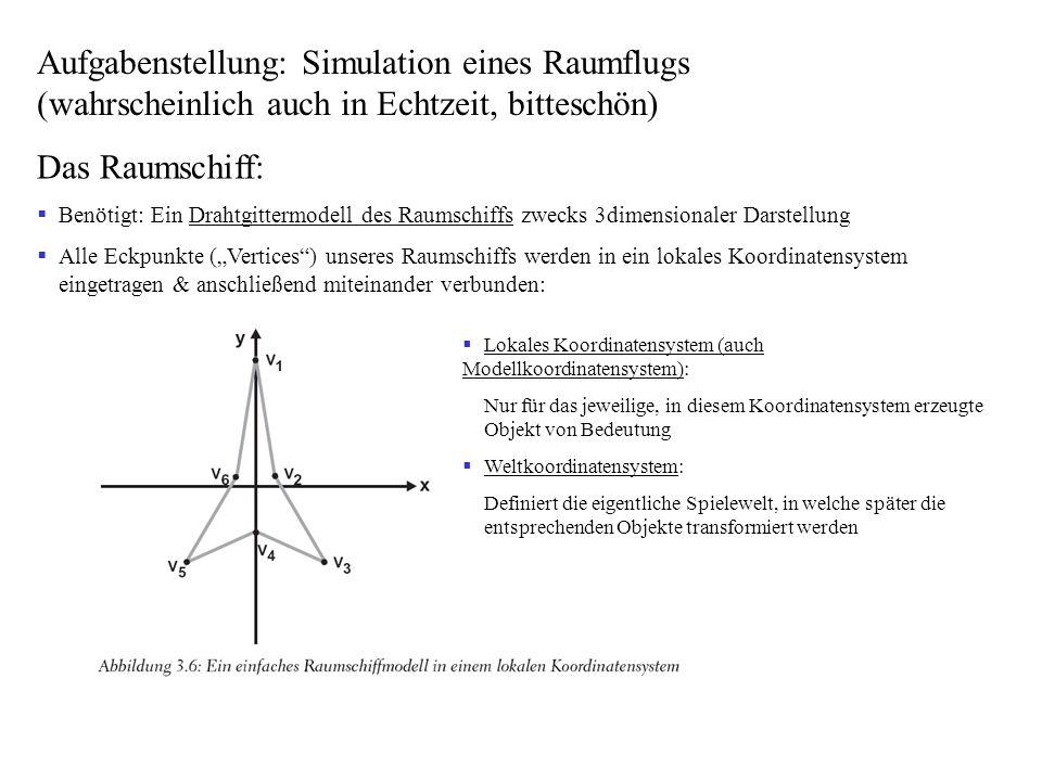 Aufgabenstellung: Simulation eines Raumflugs (wahrscheinlich auch in Echtzeit, bitteschön)