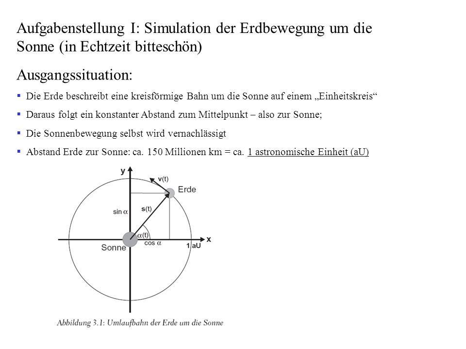 Aufgabenstellung I: Simulation der Erdbewegung um die Sonne (in Echtzeit bitteschön)