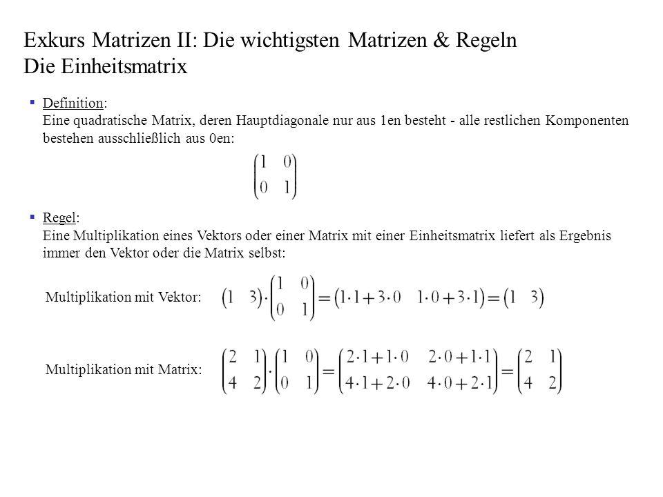 Exkurs Matrizen II: Die wichtigsten Matrizen & Regeln Die Einheitsmatrix