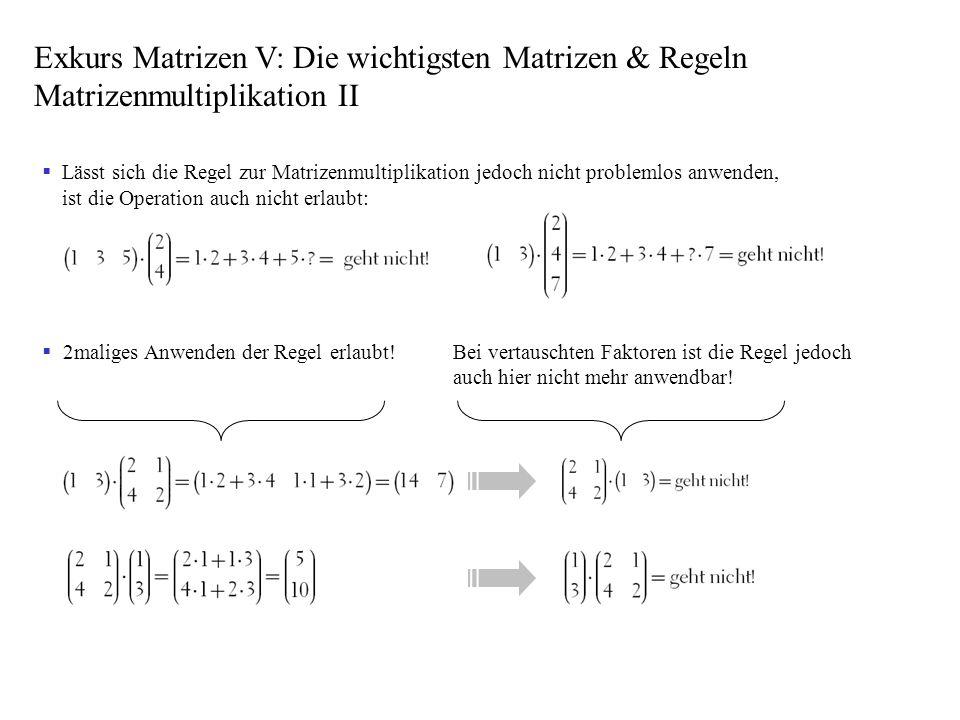 Exkurs Matrizen V: Die wichtigsten Matrizen & Regeln Matrizenmultiplikation II
