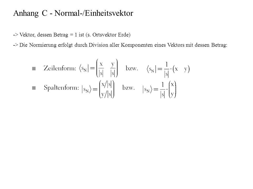 Anhang C - Normal-/Einheitsvektor