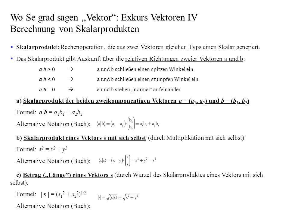"""Wo Se grad sagen """"Vektor : Exkurs Vektoren IV Berechnung von Skalarprodukten"""