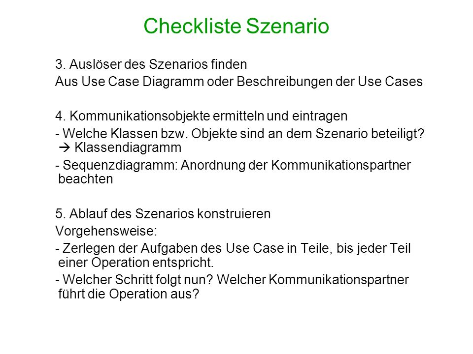 Checkliste Szenario 3. Auslöser des Szenarios finden