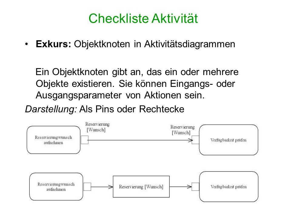 Checkliste Aktivität Exkurs: Objektknoten in Aktivitätsdiagrammen