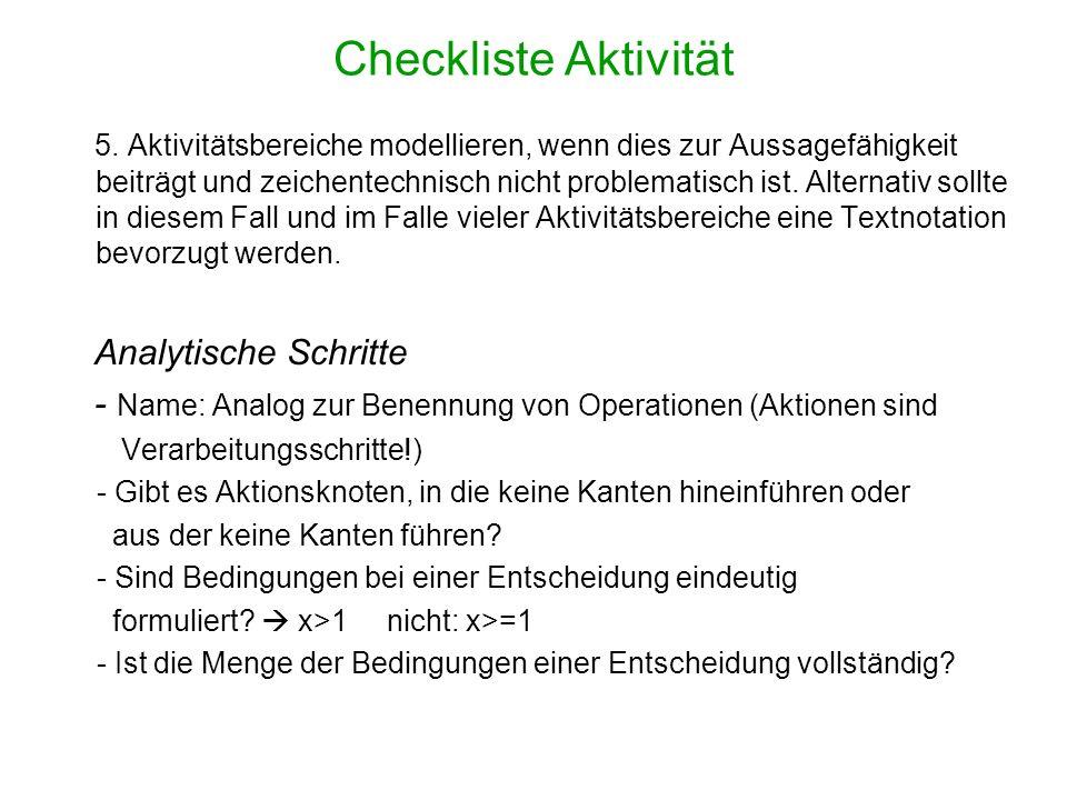 Checkliste Aktivität