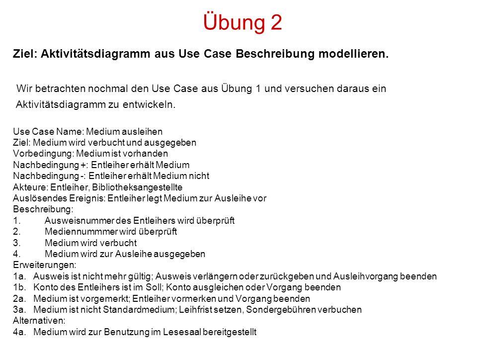 Übung 2 Ziel: Aktivitätsdiagramm aus Use Case Beschreibung modellieren. Wir betrachten nochmal den Use Case aus Übung 1 und versuchen daraus ein.