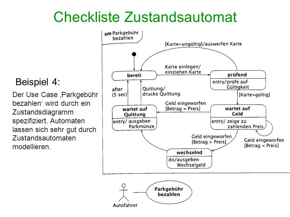 Checkliste Zustandsautomat