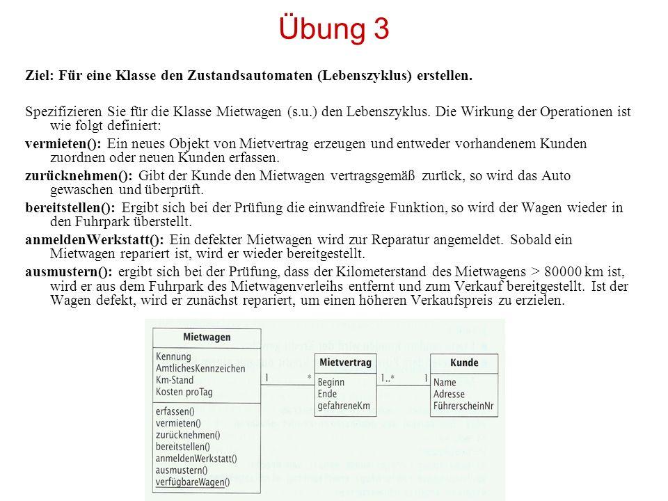 Übung 3 Ziel: Für eine Klasse den Zustandsautomaten (Lebenszyklus) erstellen.