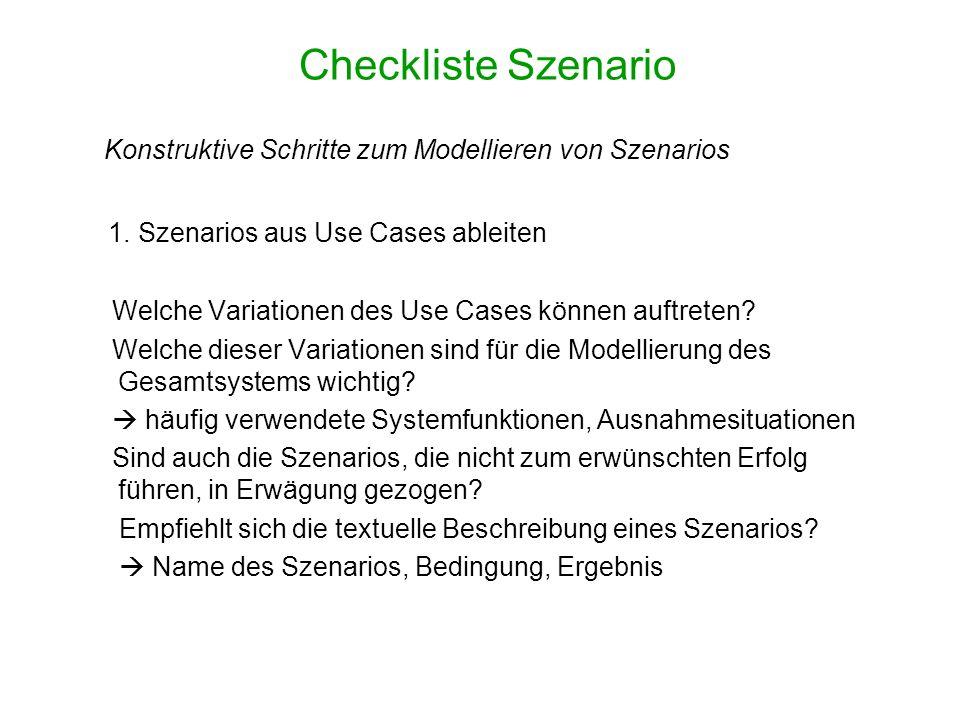 Checkliste Szenario 1. Szenarios aus Use Cases ableiten