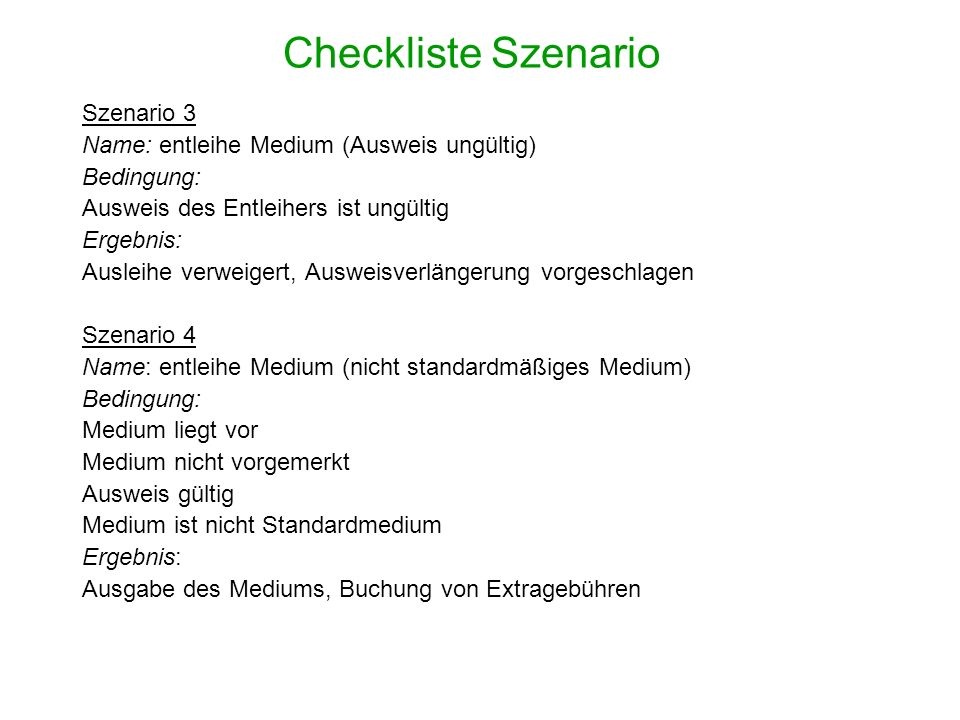 Checkliste Szenario Szenario 3
