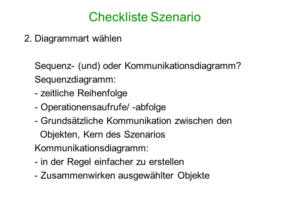 Checkliste Szenario 2. Diagrammart wählen