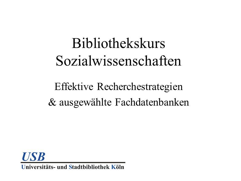 Bibliothekskurs Sozialwissenschaften