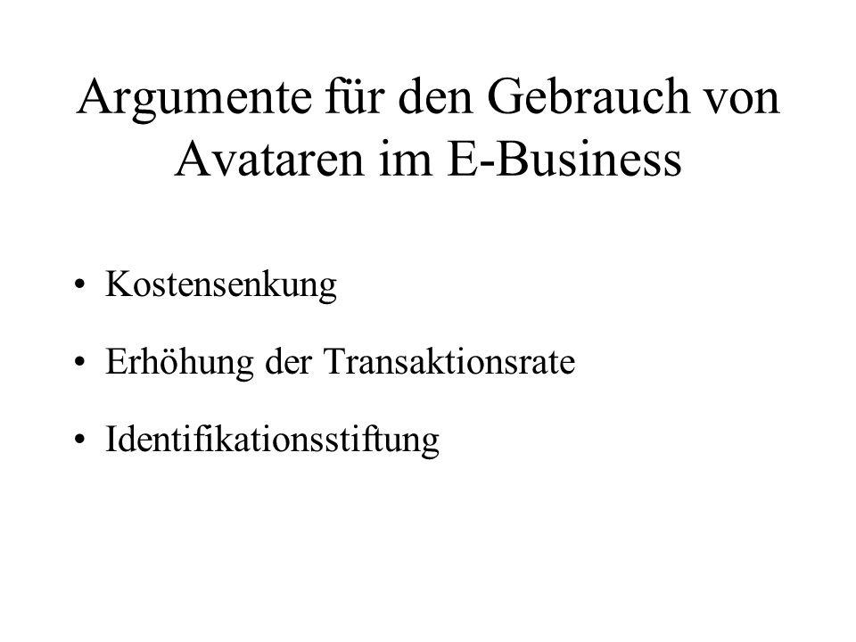 Argumente für den Gebrauch von Avataren im E-Business