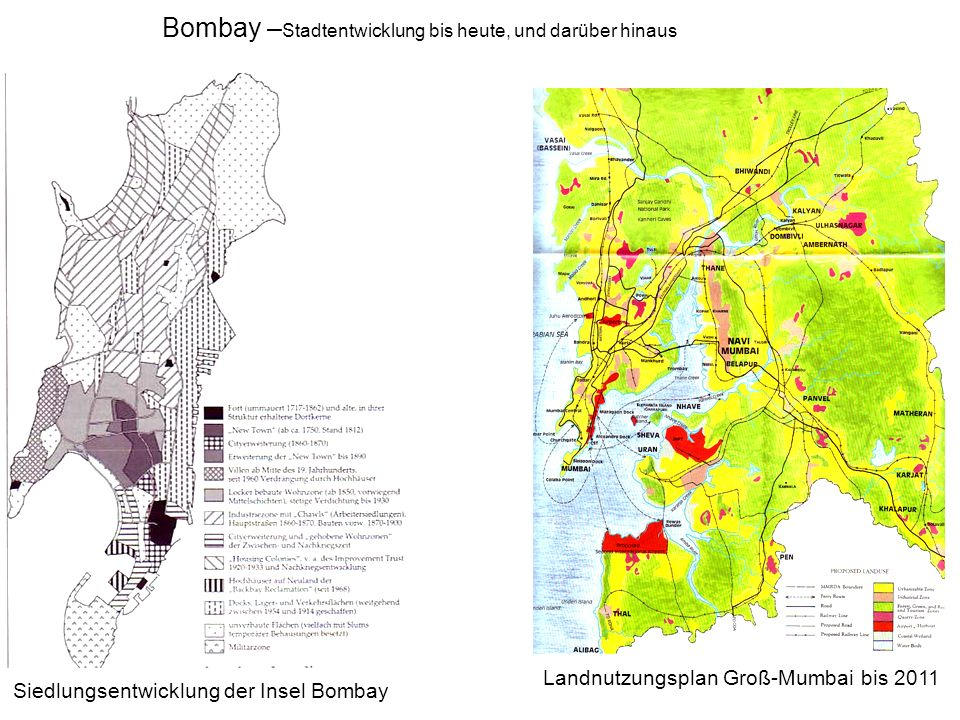 Bombay –Stadtentwicklung bis heute, und darüber hinaus