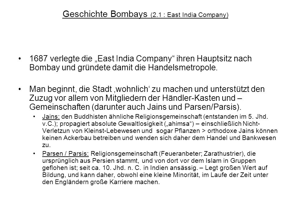 Geschichte Bombays (2.1 : East India Company)