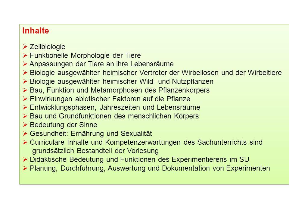 Inhalte Zellbiologie Funktionelle Morphologie der Tiere