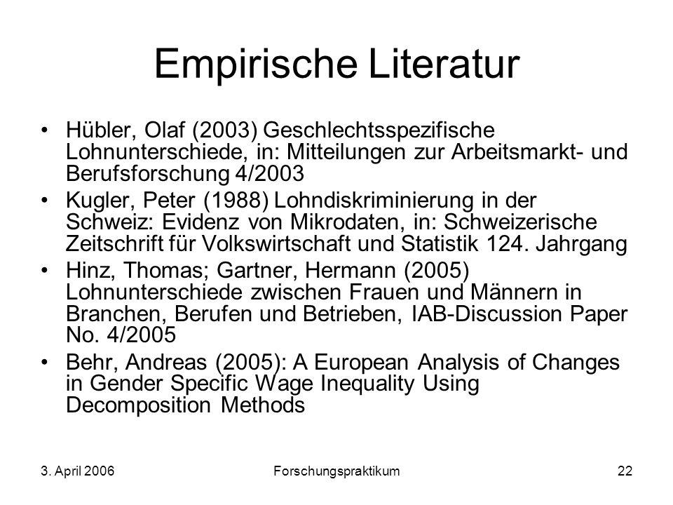 Empirische Literatur Hübler, Olaf (2003) Geschlechtsspezifische Lohnunterschiede, in: Mitteilungen zur Arbeitsmarkt- und Berufsforschung 4/2003.