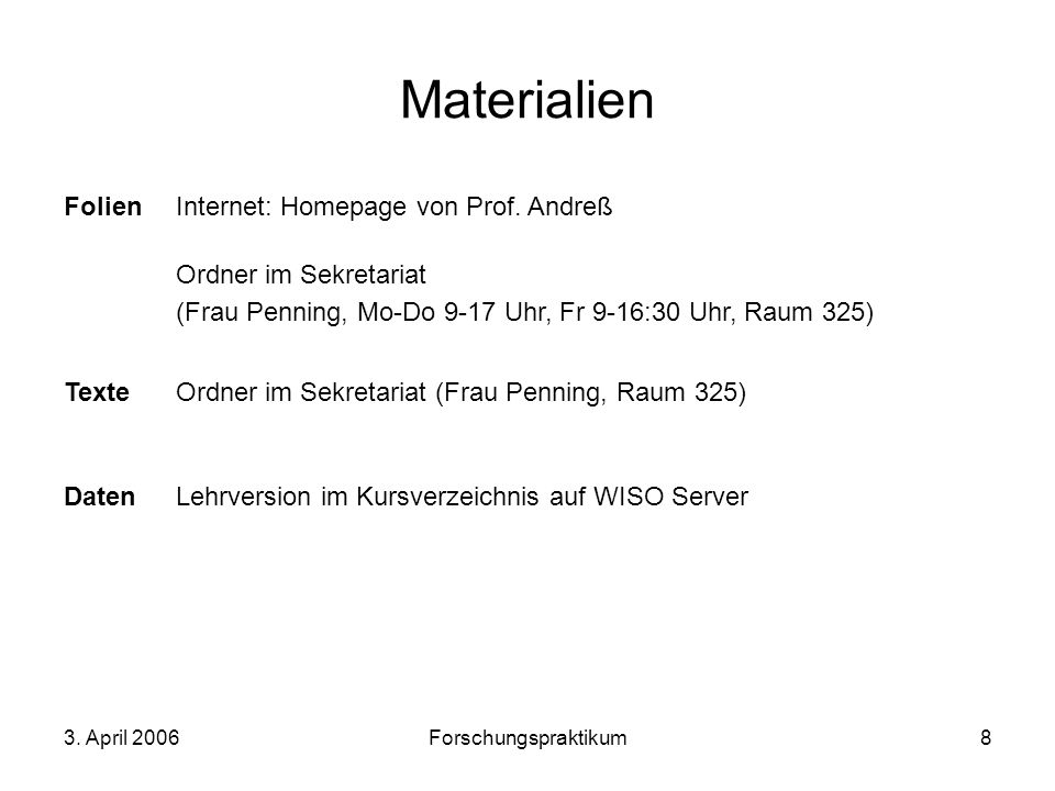 Materialien Folien Internet: Homepage von Prof. Andreß
