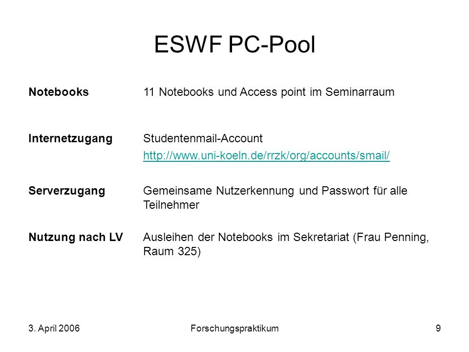 ESWF PC-Pool Notebooks 11 Notebooks und Access point im Seminarraum