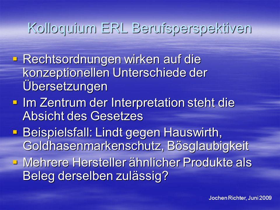 Kolloquium ERL Berufsperspektiven