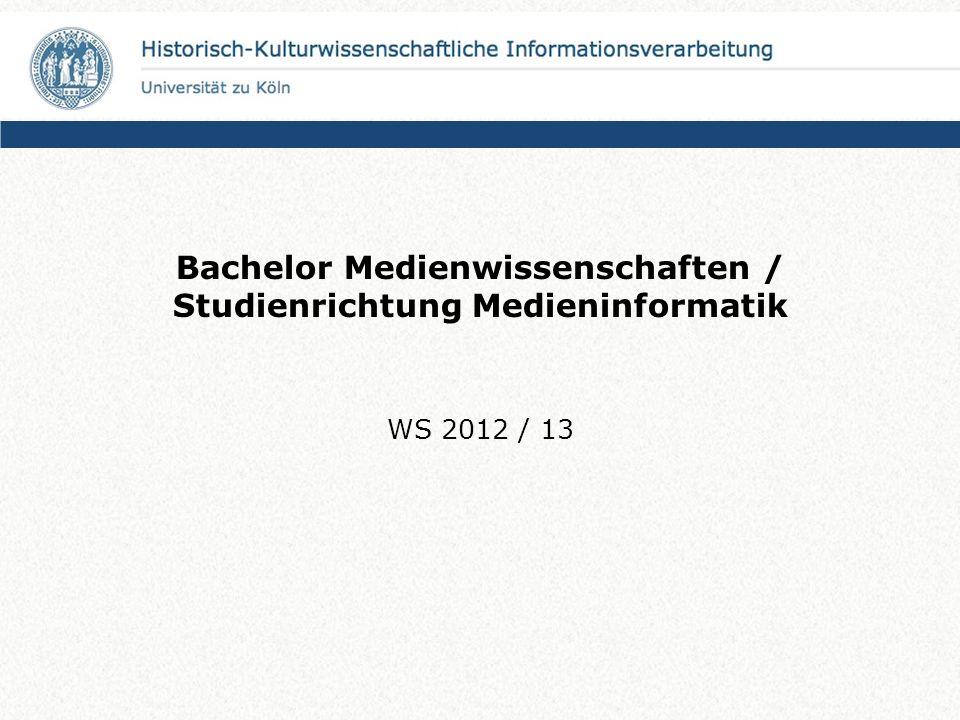 Bachelor Medienwissenschaften / Studienrichtung Medieninformatik