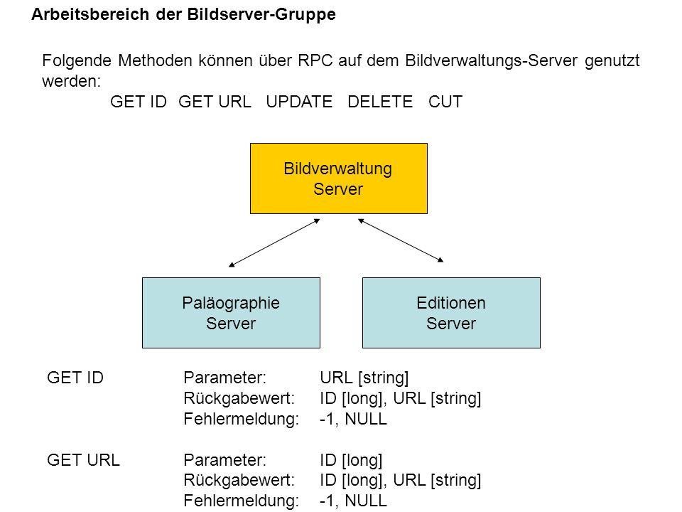 Folgende Methoden können über RPC auf dem Bildverwaltungs-Server genutzt werden: