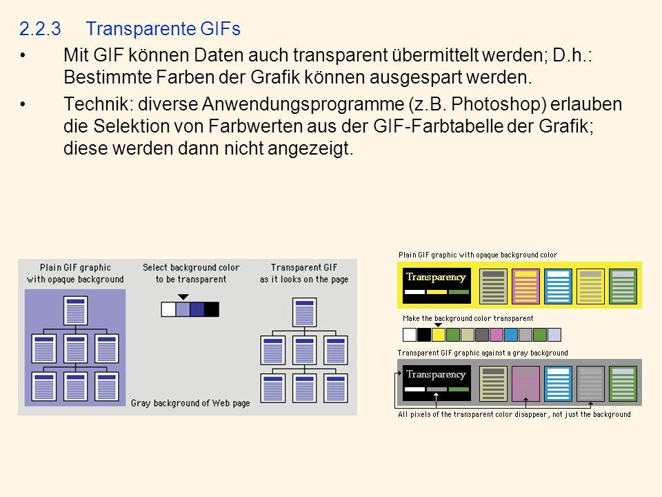 2.2.3 Transparente GIFs Mit GIF können Daten auch transparent übermittelt werden; D.h.: Bestimmte Farben der Grafik können ausgespart werden.