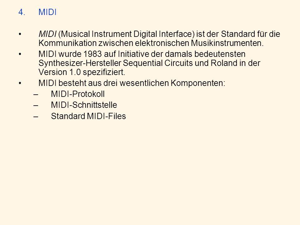 MIDI MIDI (Musical Instrument Digital Interface) ist der Standard für die Kommunikation zwischen elektronischen Musikinstrumenten.