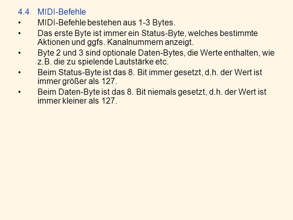 4.4 MIDI-Befehle MIDI-Befehle bestehen aus 1-3 Bytes.
