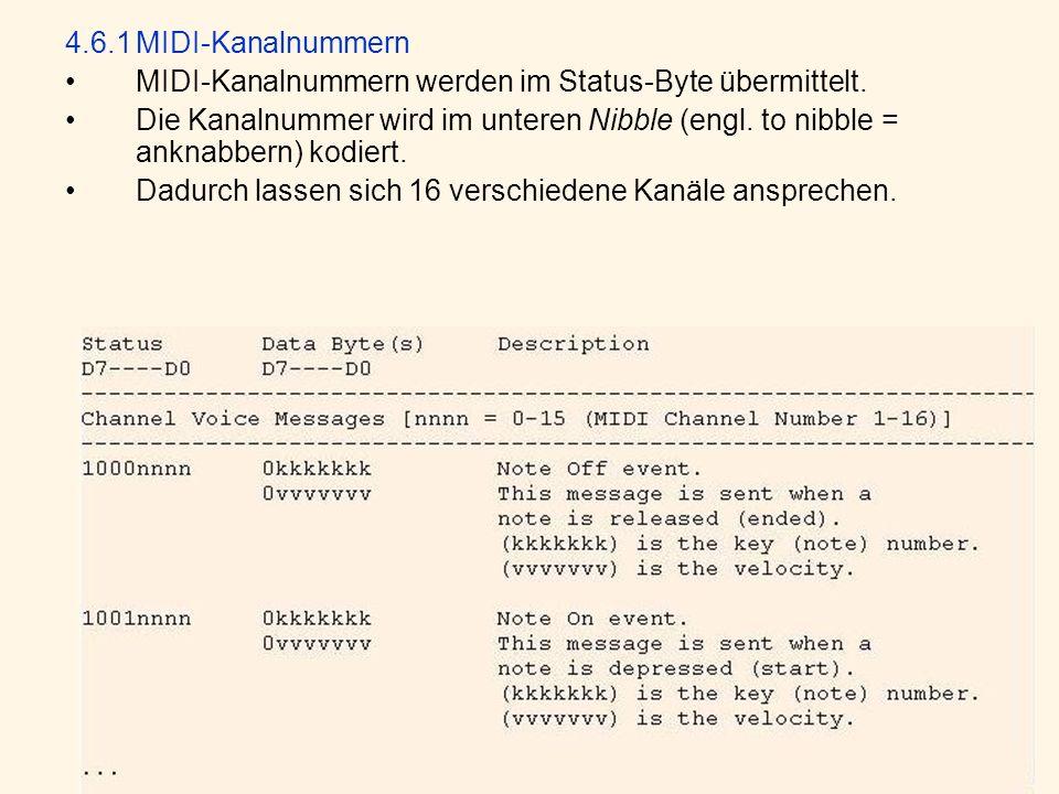 4.6.1 MIDI-Kanalnummern MIDI-Kanalnummern werden im Status-Byte übermittelt.